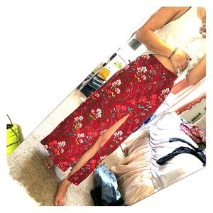 Express Floral Maxi Skirt with Slit